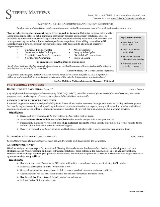 National Sales Executive Resume. S TEPHEN MATHEWS ...  Sales Executive Resume