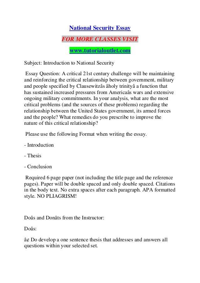 NATIONAL SECURITY ESSAY / TUTORIALOUTLET DOT COM