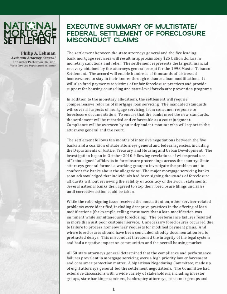 EXECUTIVE SUMMARY OF MULTISTATE/                                       FEDERAL SETTLEMENT OF FORECLOSURE                  ...