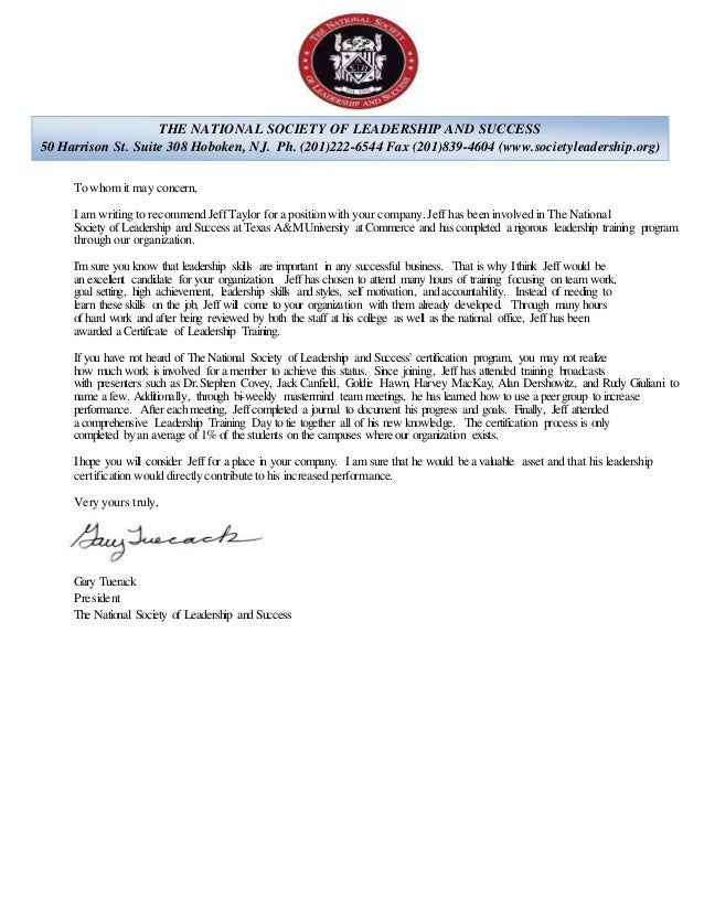 recommendation letter for national honor society