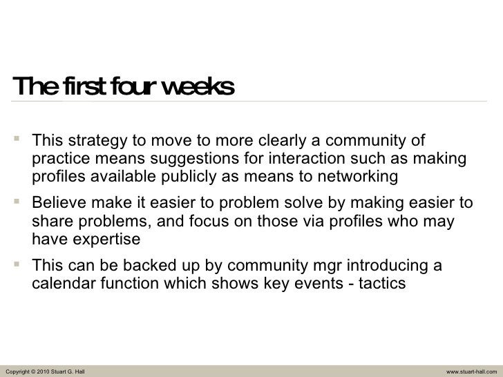 The first four weeks <ul><li>This strategy to move to more clearly a community of practice means suggestions for interacti...