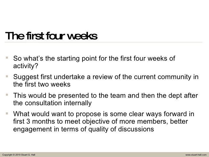The first four weeks <ul><li>So what's the starting point for the first four weeks of activity? </li></ul><ul><li>Suggest ...