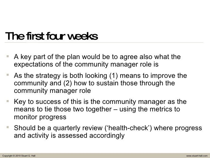The first four weeks <ul><li>A key part of the plan would be to agree also what the expectations of the community manager ...