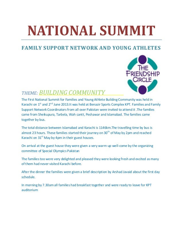 NATIONAL SUMMIT FAMILY SUPPORT NETWORK AND YOUNG ATHLETES THEME: BUILDING COMMUNITY The First National Summit for Families...