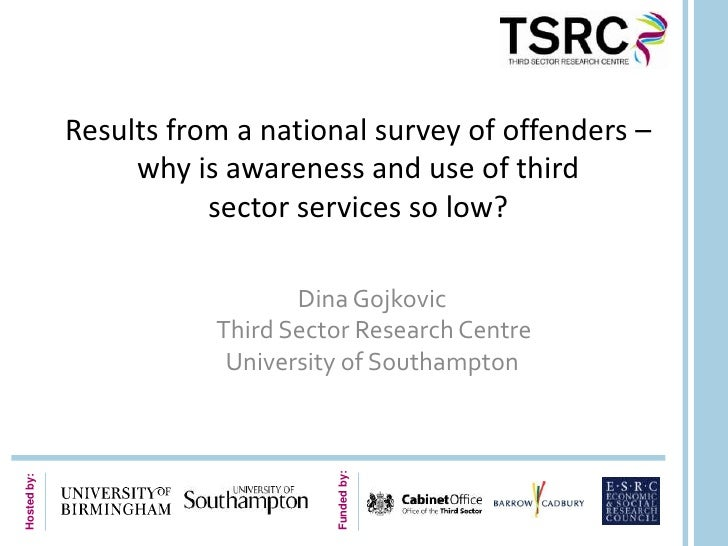 Results from a national survey of offenders –                  why is awareness and use of third                        se...