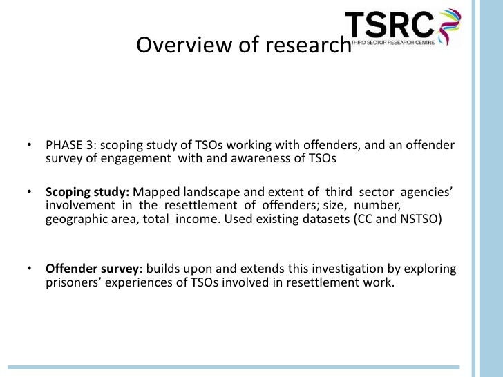 Overview of research• PHASE 3: scoping study of TSOs working with offenders, and an offender  survey of engagement with an...