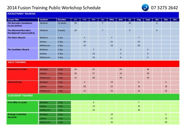 end user training plan template - national training calendar 2014