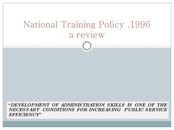 National training policy  for slide show