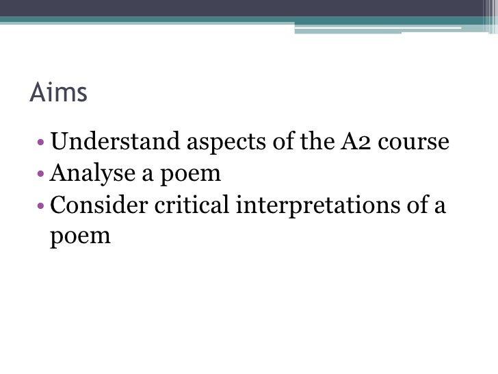 critical anthology coursework a2 • critical anthology linked to poetry and short stories english literature as/a2 head of department:  you will produce two pieces of coursework worth 40% of the.