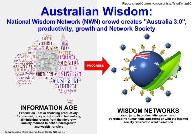 """Australian Wisdom: National Wisdom Network (NWN) crowd creates """"Australia 3.0"""", productivity, growth and Network Society W..."""