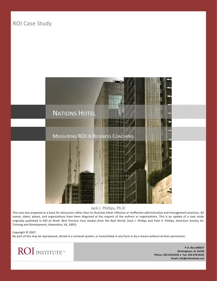 ROI Case Study                                    NATIONS HOTEL                                 MEASURING ROI IN BUSINESS ...
