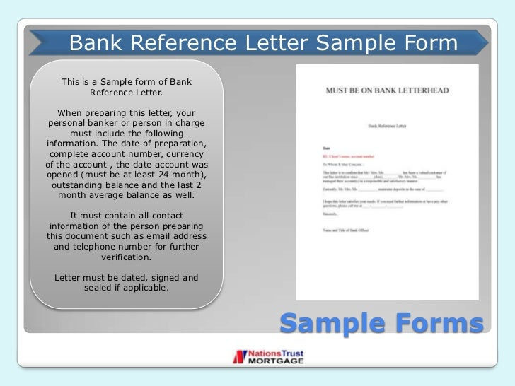 Nations Trust Mortgage Company of South Florida – Bank Reference Letter Sample