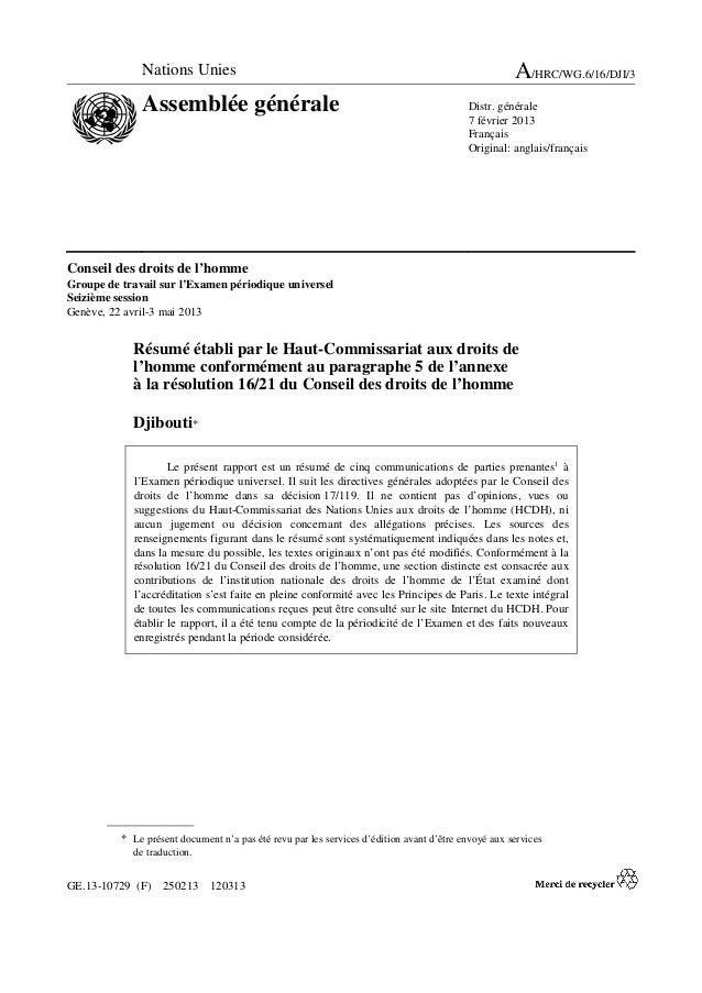 GE.13-10729 (F) 250213 120313 Conseil des droits de l'homme Groupe de travail sur l'Examen périodique universel Seizième s...