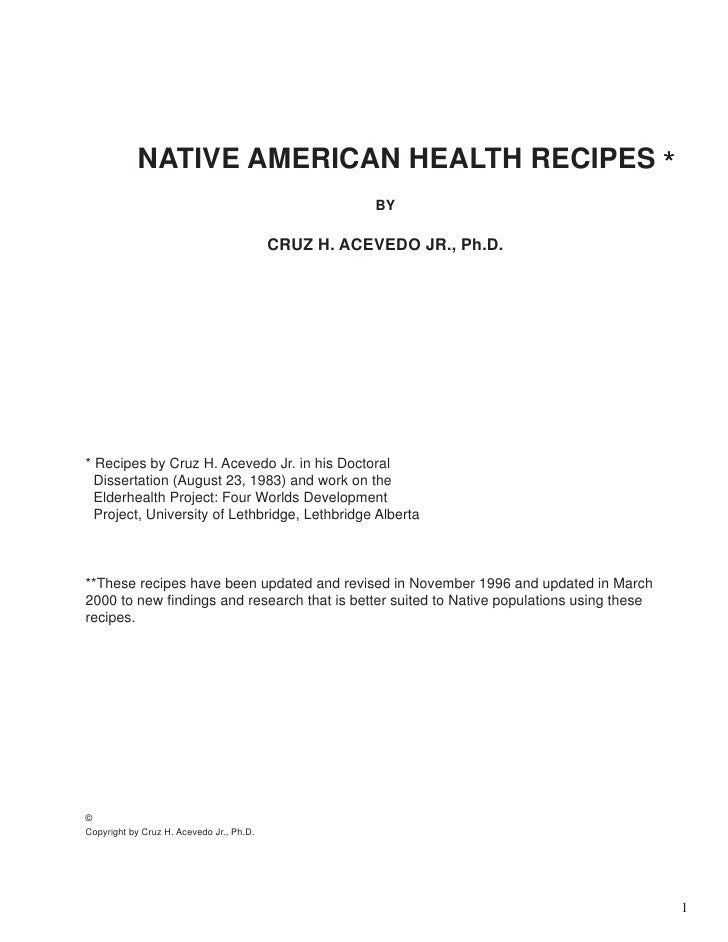 NATIVE AMERICAN HEALTH RECIPES *                                                     BY                                   ...