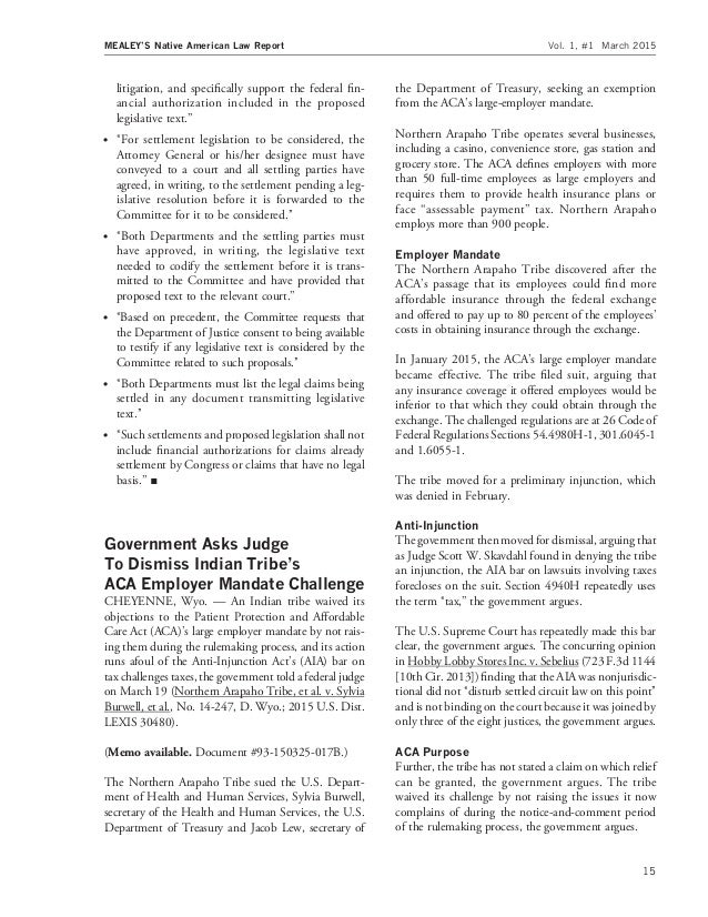 Native american law report march 2015 issue 15 litigation fandeluxe Images