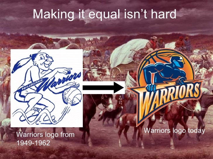Making it equal isn't hard Warriors logo from  1949-1962 Warriors logo today