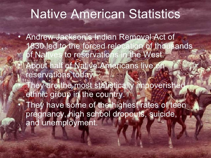 Native American Statistics <ul><li>Andrew Jackson's Indian Removal Act of 1830 led to the forced relocation of thousands o...
