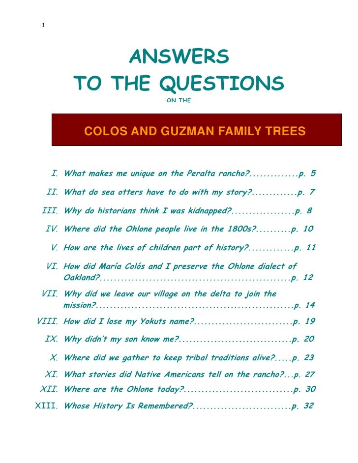 1                    ANSWERS            TO THE QUESTIONS                                      ON THE                   COL...