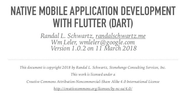 Native mobile application development with Flutter (Dart)