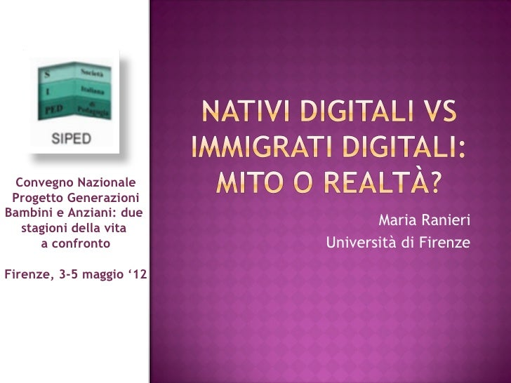 Convegno Nazionale Progetto GenerazioniBambini e Anziani: due  stagioni della vita                                 Maria R...