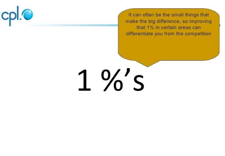 It can often be the small things that   make the big difference, so improving        that 1% in certain areas can   differ...