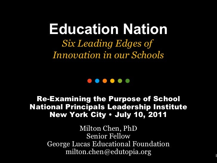 1 Education Nation Six Leading Edges of  Innovation in our Schools Re-Examining the Purpose of School National Principals ...