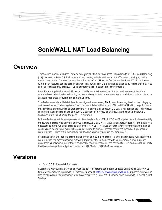 SonicWALL NAT Load BalancingOverview           This feature module will detail how to configure the Network Address Transl...