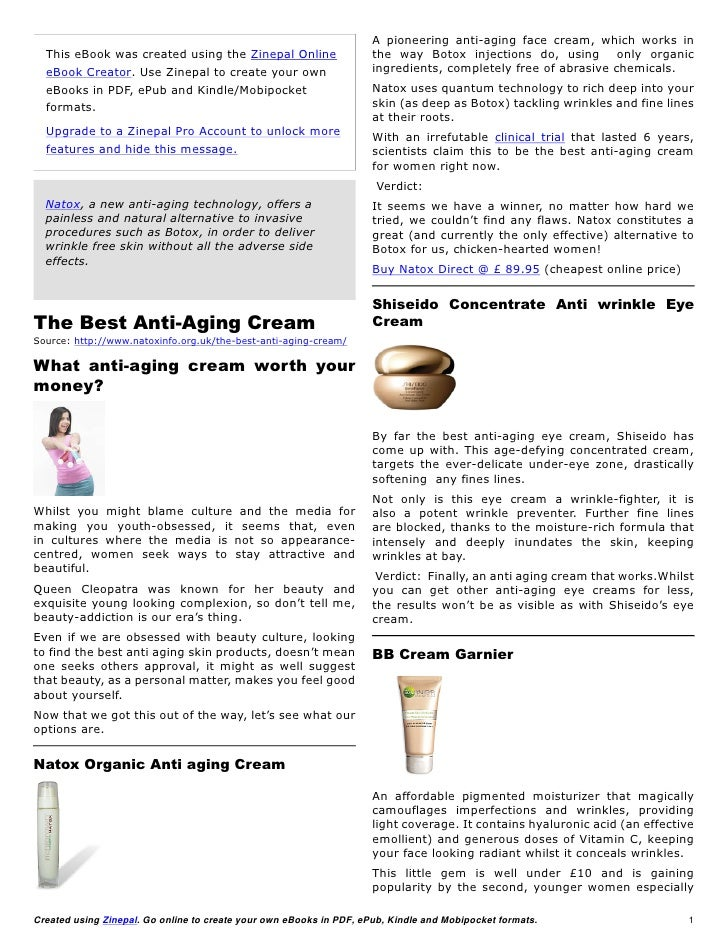 A pioneering anti-aging face cream, which works in  This eBook was created using the Zinepal Online                    the...