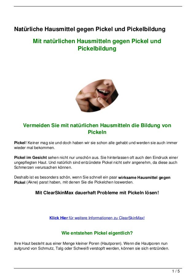 Natürliche Hausmittel gegen Pickel und Pickelbildung          Mit natürlichen Hausmitteln gegen Pickel und                ...