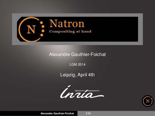 Alexandre Gauthier-Foichat LGM 2014 Leipzig, April 4th Alexandre Gauthier-Foichat 1/15