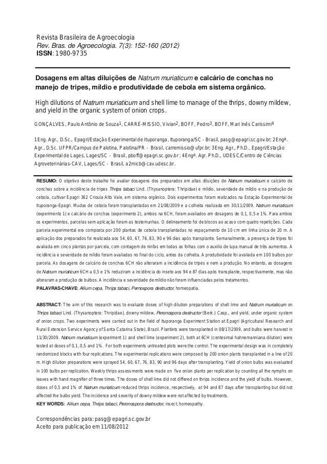 Dosagens em altas diluições de Natrum muriaticum e calcário de conchas no manejo de tripes, míldio e produtividade de cebo...