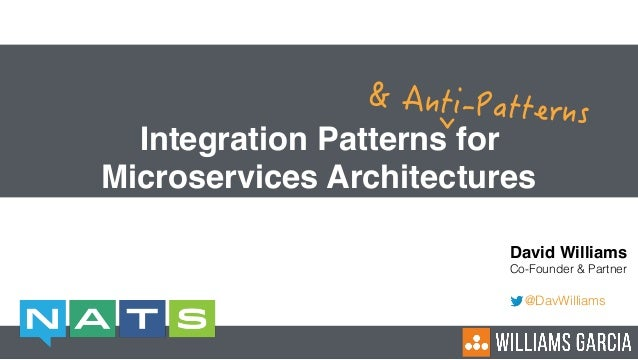 Integration Patterns for Microservices Architectures David Williams Co-Founder & Partner @DavWilliams