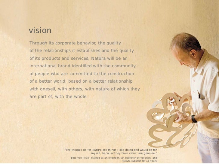 visionThrough its corporate behavior, the qualityof the relationships it establishes and the qualityof its products and se...