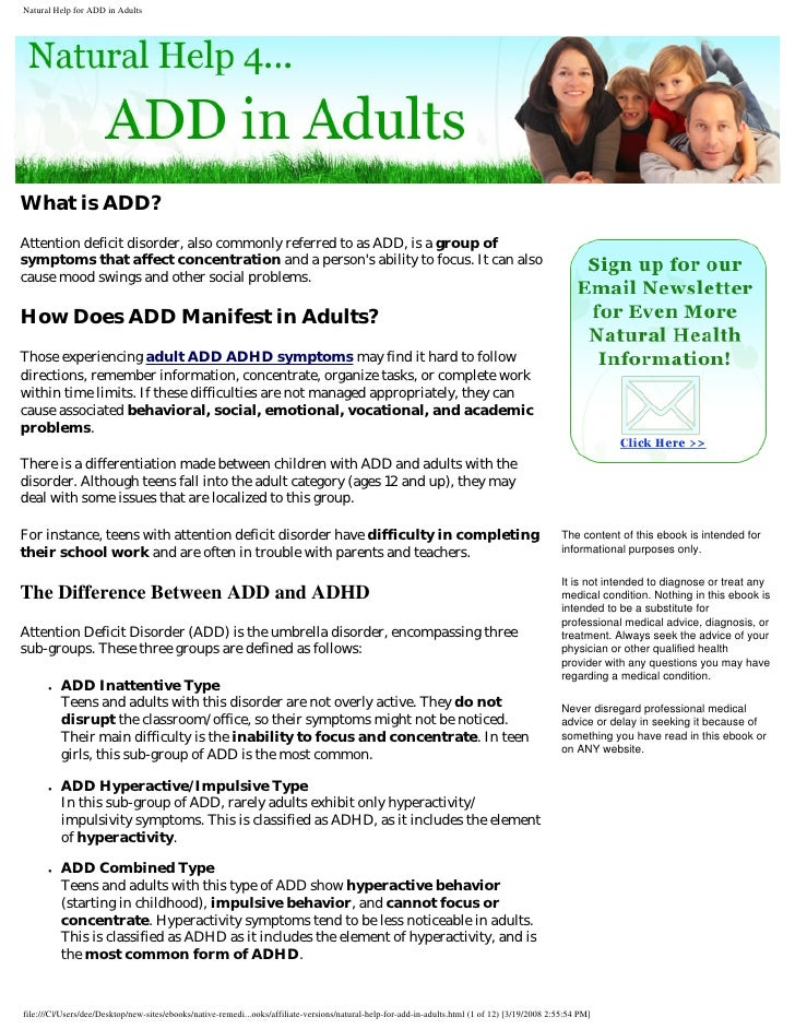 Natural Help For Add In Adults