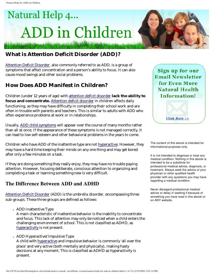 What is Attention Deficit Disorder (ADD)? Attention Deficit Disorder, also commonly referred to as ADD, is a group of symp...