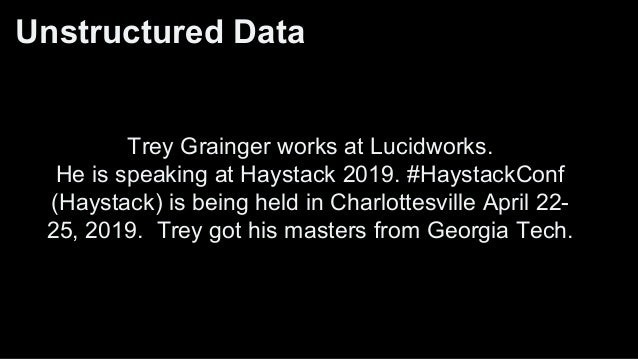 Fuzzier Foreign Key? (metadata, latent features) Trey Grainger works for Lucidworks. He is speaking at the Haystack 2019. ...