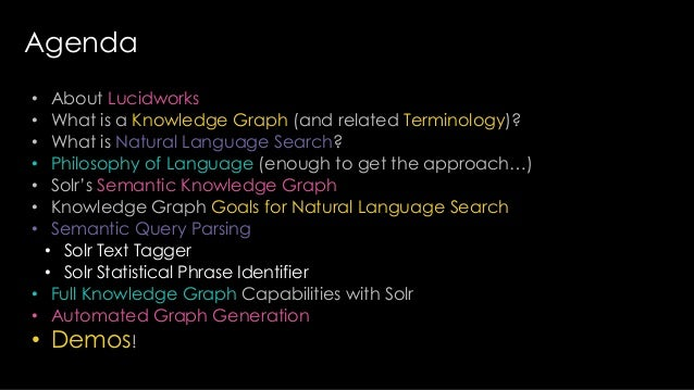 Agenda • About Lucidworks • What is a Knowledge Graph (and related Terminology)? • What is Natural Language Search? • Phil...