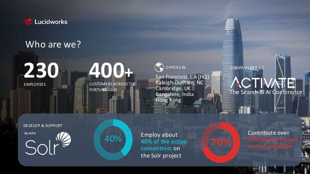 The Search & AI Conference COMPANY BEHIND Who are we? 230 CUSTOMERS ACROSS THE FORTUNE 1000 400+EMPLOYEES OFFICES IN San F...