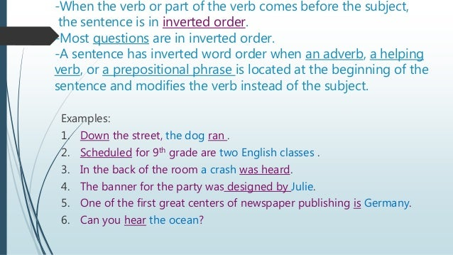 Inverted order sentence example