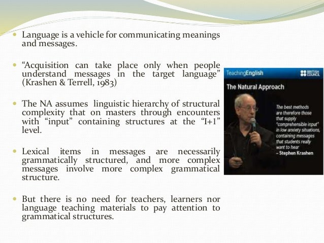 """ Language is a vehicle for communicating meanings  and messages.   """"Acquisition can take place only when people  underst..."""