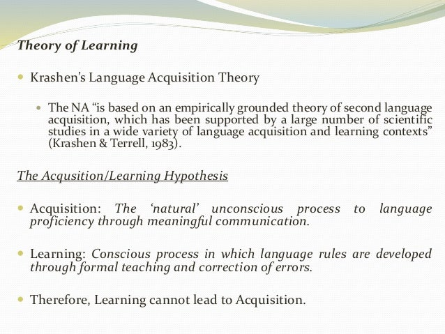 """Theory of Learning   Krashen's Language Acquisition Theory   The NA """"is based on an empirically grounded theory of secon..."""