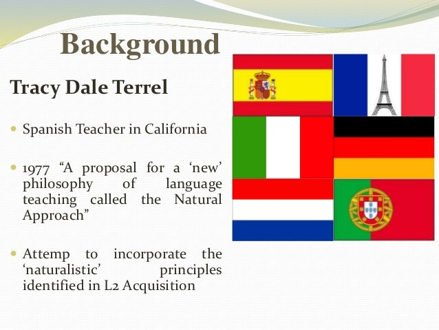 """Background  Tracy Dale Terrel   Spanish Teacher in California   1977 """"A proposal for a 'new'  philosophy of language  te..."""