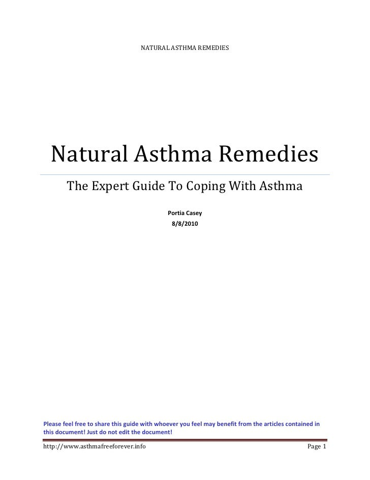 NATURAL ASTHMA REMEDIES       Natural Asthma Remedies         The Expert Guide To Coping With Asthma                      ...