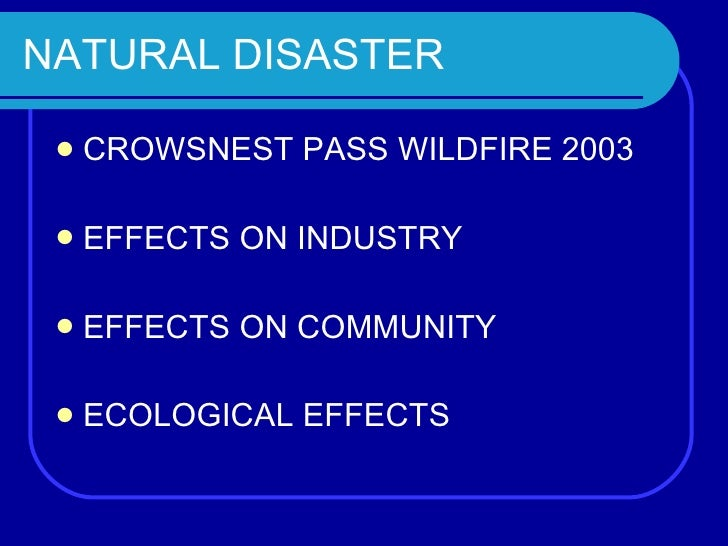 NATURAL DISASTER <ul><li>CROWSNEST PASS WILDFIRE 2003 </li></ul><ul><li>EFFECTS ON INDUSTRY  </li></ul><ul><li>EFFECTS ON ...