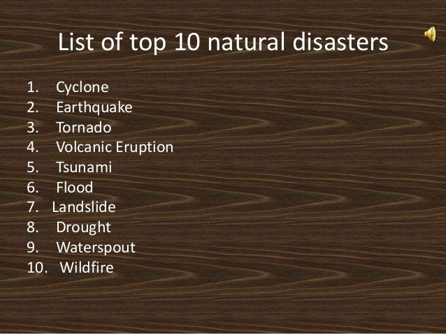 Natural Disasters In  List