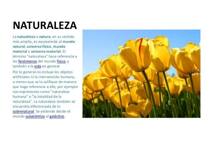 NATURALEZALa naturaleza o natura, en su sentidomás amplio, es equivalente al mundonatural, universo físico, mundomaterial ...