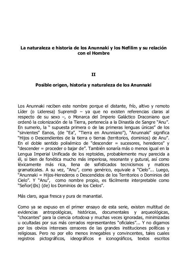 La naturaleza e historia de los Anunnaki y los Nefilim y su relación con el Hombre  II Posible origen, historia y naturale...