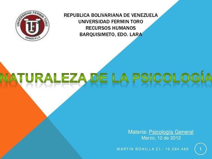REPUBLICA BOLIVARIANA DE VENEZUELA     UNIVERSIDAD FERMIN TORO        RECURSOS HUMANOS     BARQUISIMETO, EDO. LARA        ...