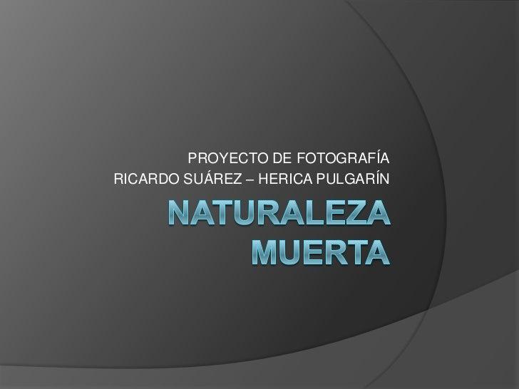 NATURALEZA MUERTA<br />PROYECTO DE FOTOGRAFÍA<br />RICARDO SUÁREZ – HERICA PULGARÍN<br />