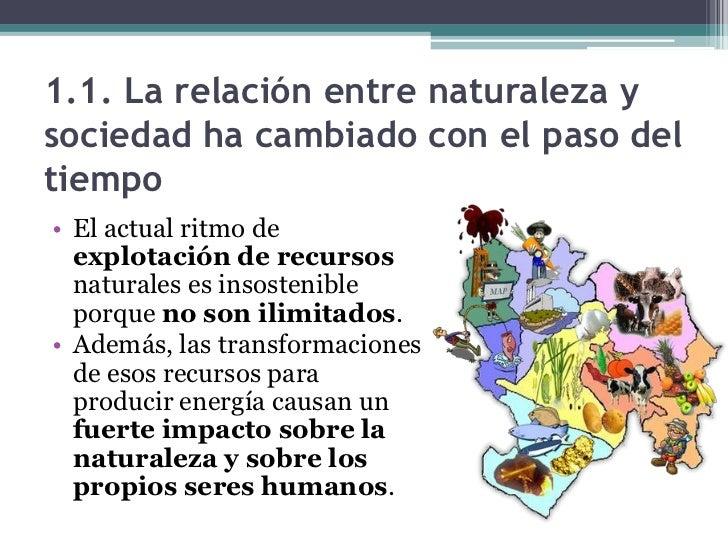 1.1. La relación entre naturaleza ysociedad ha cambiado con el paso deltiempo• El actual ritmo de  explotación de recursos...